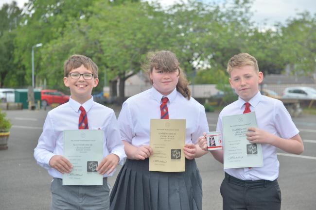 L-R Alex, Heather and Murray who won the Scottish Mathematical Council Scottish Primary Maths Competition.