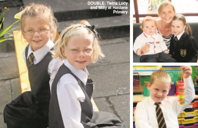 Twins Lucy and Milly, Abigail Melville with mum Leanne and little brother Niall (top right) and Jack Rogers (bottom right)