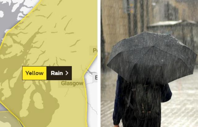 A yellow weather warning for rain is in place