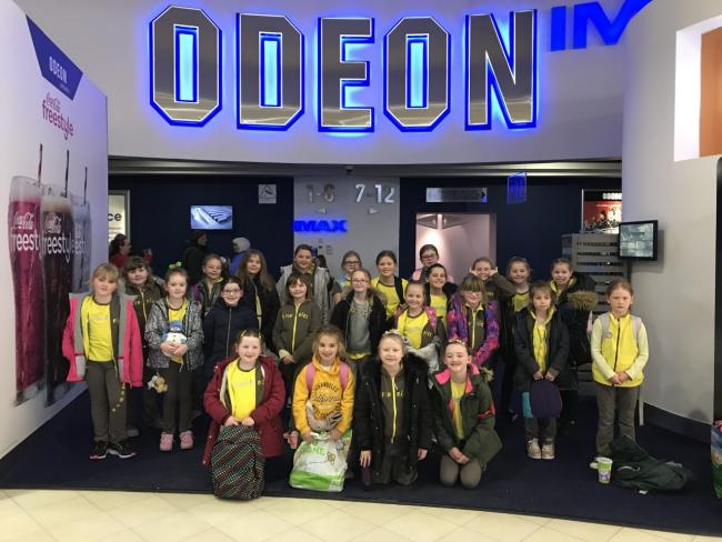 Pictured after their visit to see Frozen 2 are, from left, Kirsten McNaught, Emily Rankin, Carla Currie, Amy Travis, Mikayla Kennedy, Emma Campbell, Erin Brown, Aimee Ackland, Karly Clow, Isobel Duggan, Megan Thompson, Chloe Cook, Eilidh Raeside, Isla McG