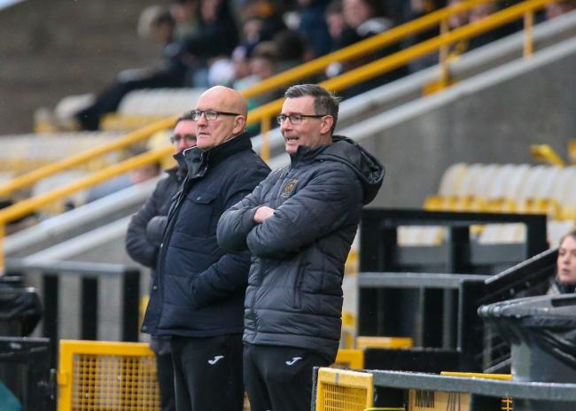 Jim Duffy and new assistant Barry Smith watched on as Sons fell to a 4-2 loss away to East Fife (Photo: Andy Scott)