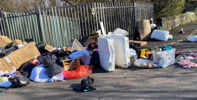 Rubbish dumped outside the recycling centre in Old Kilpatrick
