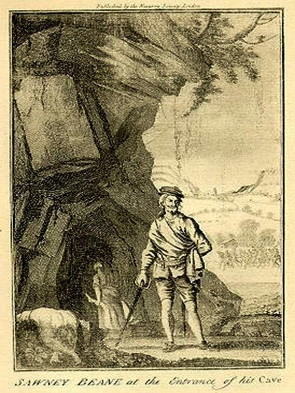 Dumbarton and Vale of Leven Reporter: An illustration of Sawney Bean outside his cave