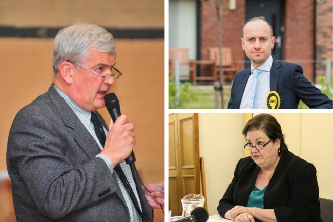 Maurice Corry (left) joins SNP's Tony Giugliano and Labour's Jackie Baillie in the fight for the Dumbarton constituency seat