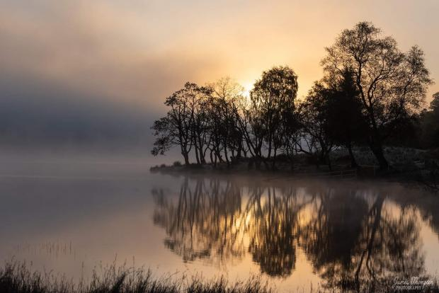 Dumbarton and Vale of Leven Reporter: Misty Morning Reflections on Loch Achray by James Thompson