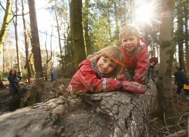 Dumbarton and Vale of Leven Reporter: Care inspectorate My World Outdoors resource launch at the Woodland Outdoor Kindergarten in Pollok Country park, Glasgow. Pictured are Ruben Millard age 3, left and Oliver Mason age 4...   Photograph by Colin Mearns.9 MARCH 2016.