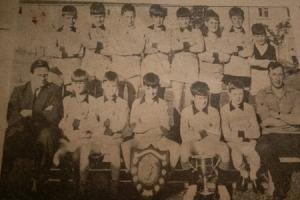 Back row, left to right, Billy Montague, Lindsay Easton, Billy Cameron, Billy Baxter,  Donald Hunter, Brian Robertson, Graham McIntyre, Finley Smith. Front row John White (Janitor)  Alan Robertson,  John McKay,  Jim Paton,  George Embelton,  Gordon Campbe