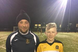 Under 13s player of the month Brandon Carmouche with Alistair Macrae