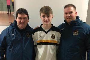 Under-15's player of the month Daniel Sloss with coaches David Lyden (left) and James Love (right)