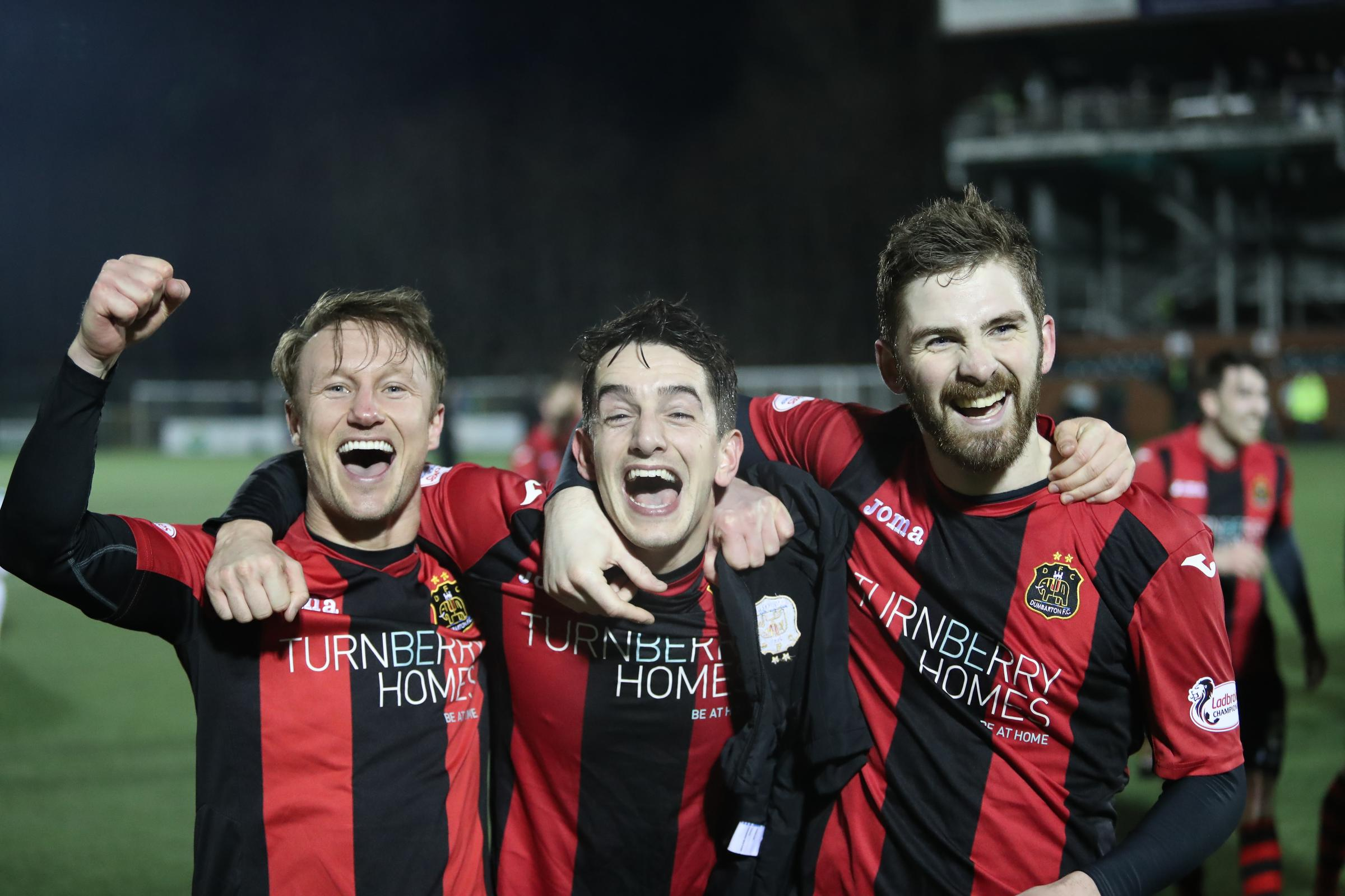 Iain Russell, Stuart Carswell and Kyle Hutton celebrate Dumbarton's triumph in the semi-final