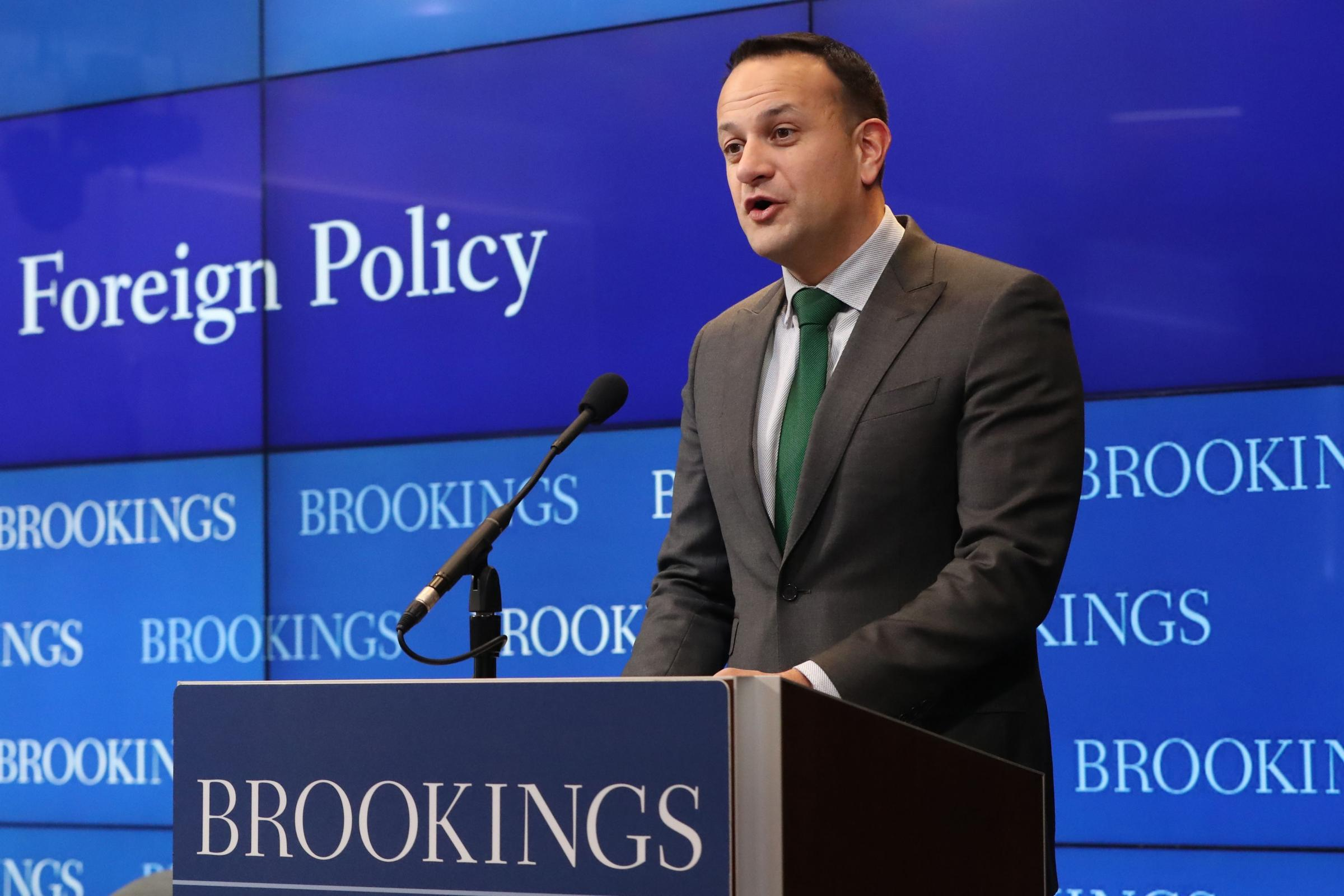 Taoiseach Leo Varadkar speaks at the Brookings Institute in Washington DC (Niall Carson/PA)