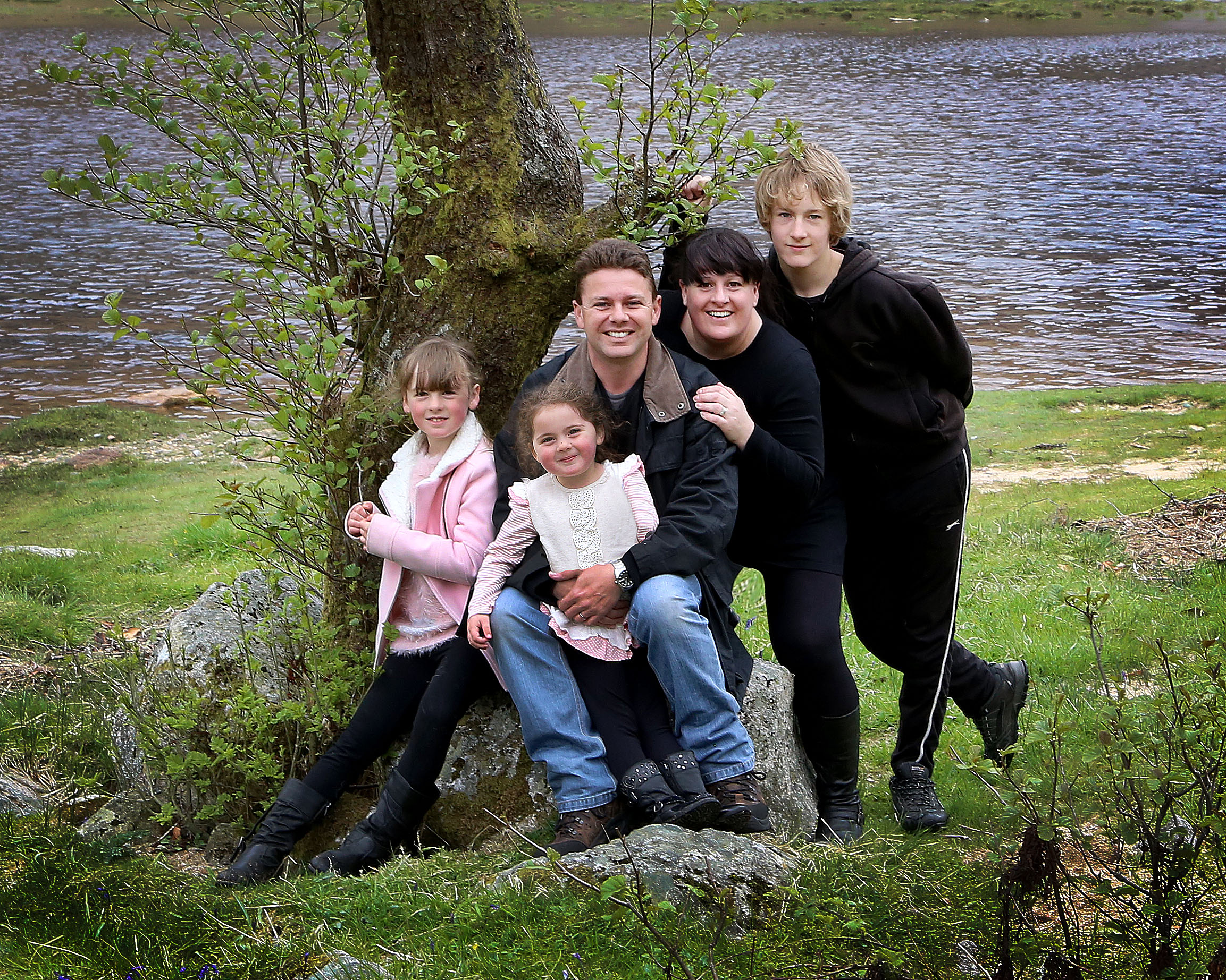 Bev and husband Steve with their children, Fergus, 15, Sophie, 11 and Erin, aged seven