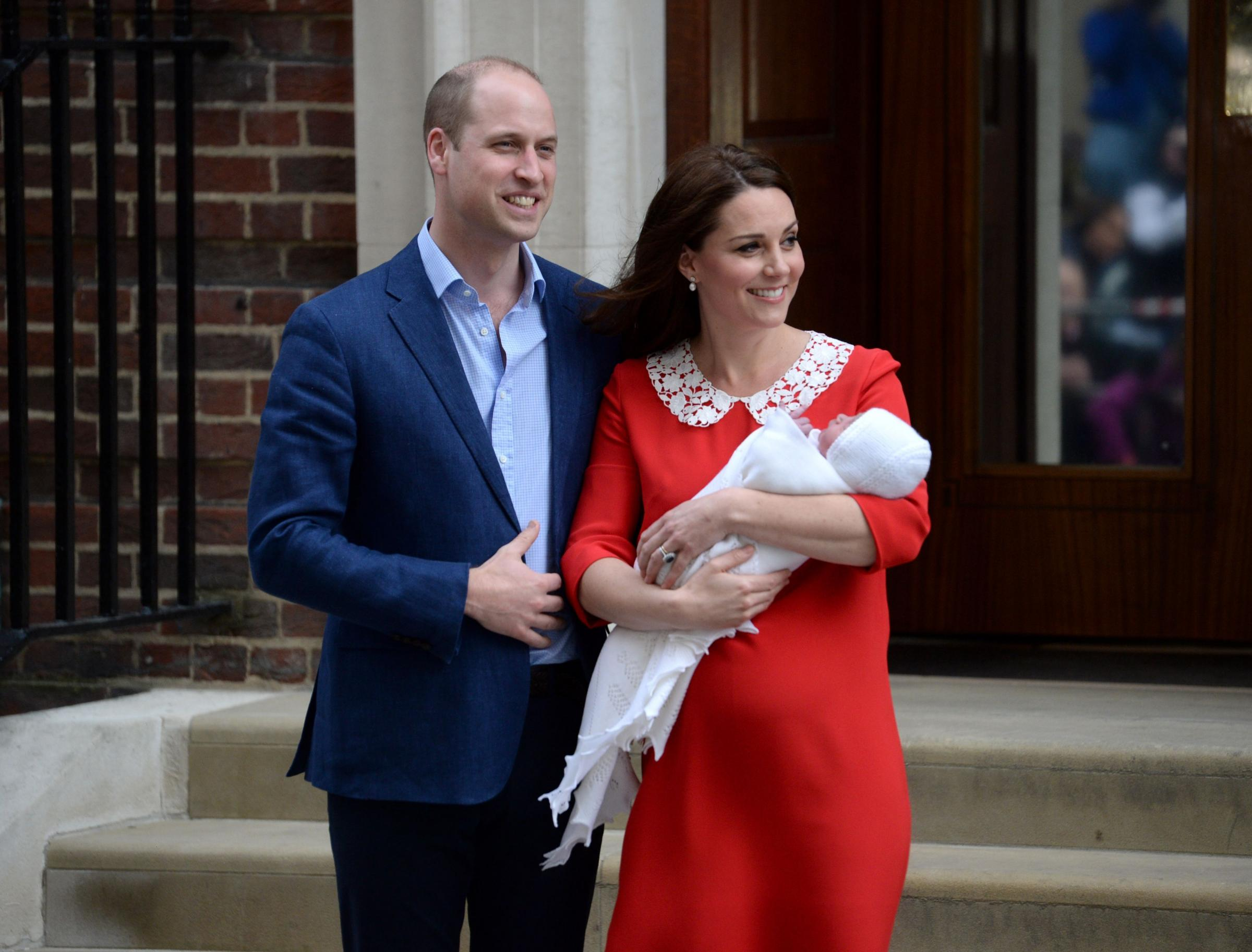 The Duke and Duchess of Cambridge and their newborn son outside the Lindo Wing at St Mary's Hospital in Paddington, London. Photo credit: Kirsty O'Connor/PA