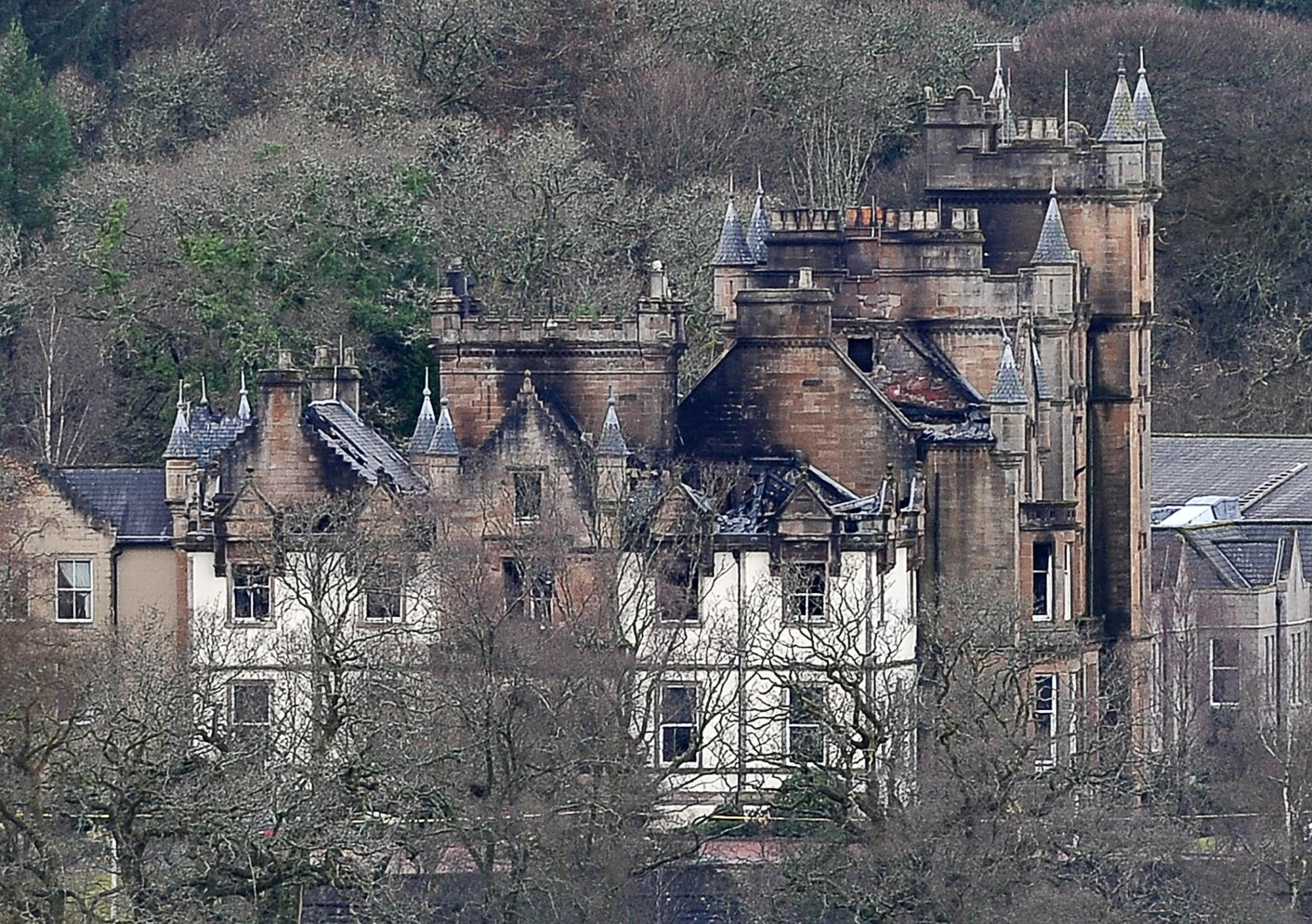 The blackened shell of the Cameron House Hotel after it was badly damaged by fire on December 18, 2017