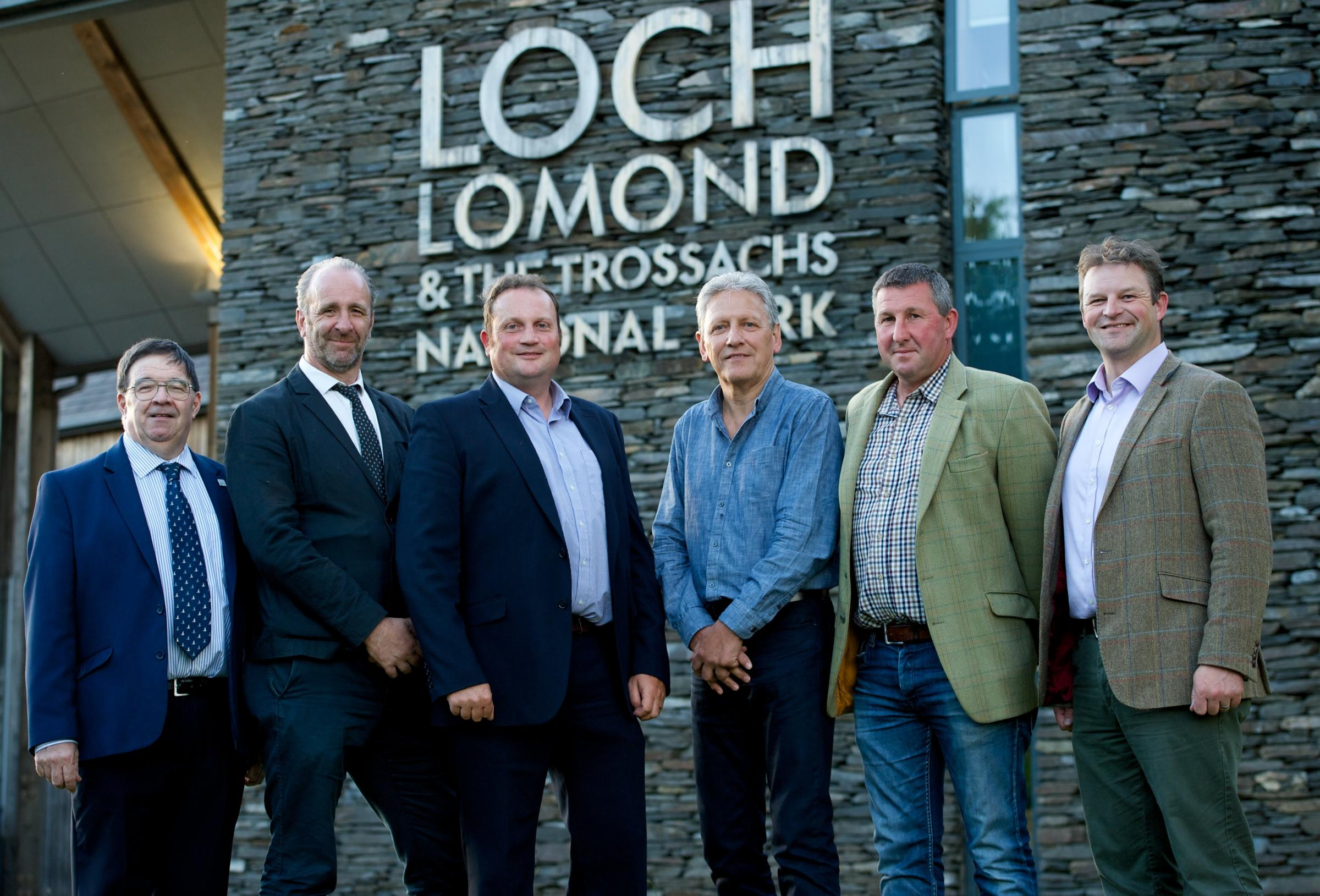 Newly elected National Park Authority Board members with Chief Executive Gordon Watson and Convener James Stuart. (L-R): Willie Nisbet, Gordon Watson, David McCowan, Bob Darracott, Billy Ronald. Credit: Loch Lomond & The Trossachs National Park Authority.