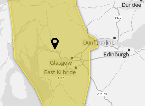 A yellow weather warning will be in place overnight