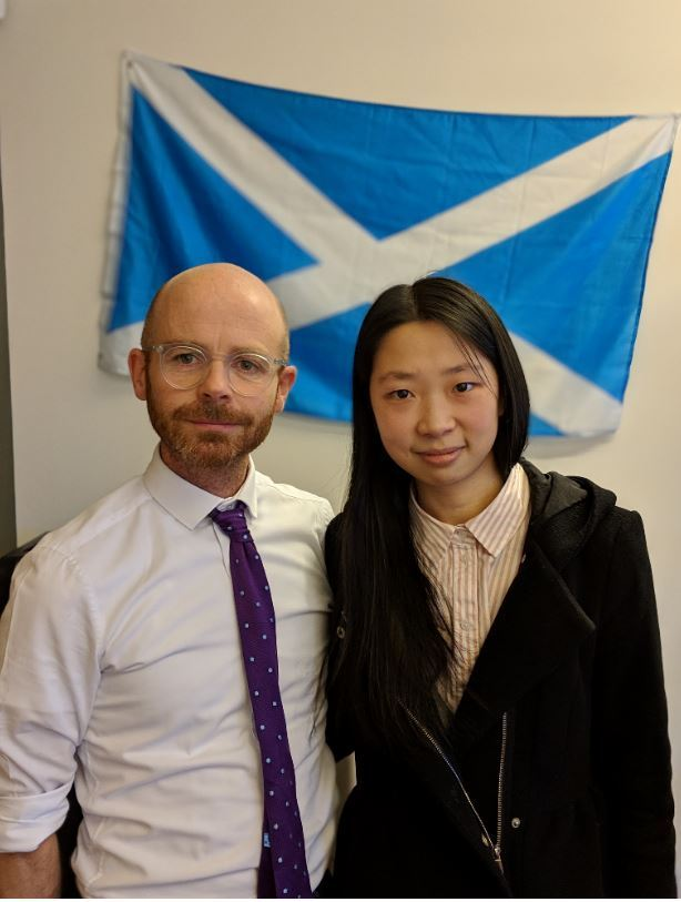 Martin Docherty Hughes with Chennan Fei - he has slammed the UK Home Office for the way they are treating her.