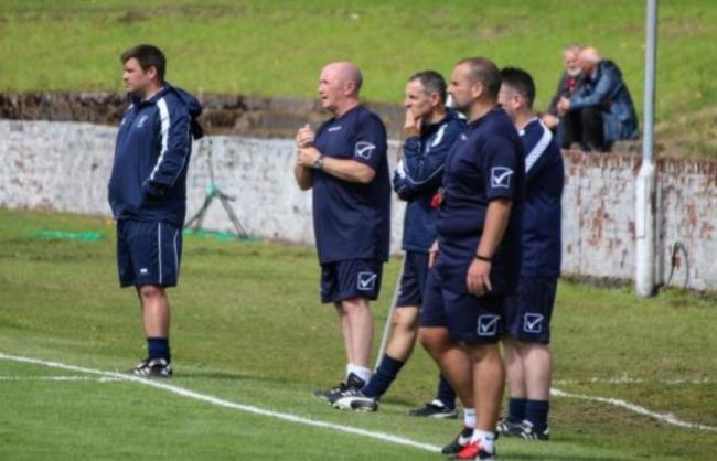 Vale of Leven manager Brian Brown (far left)