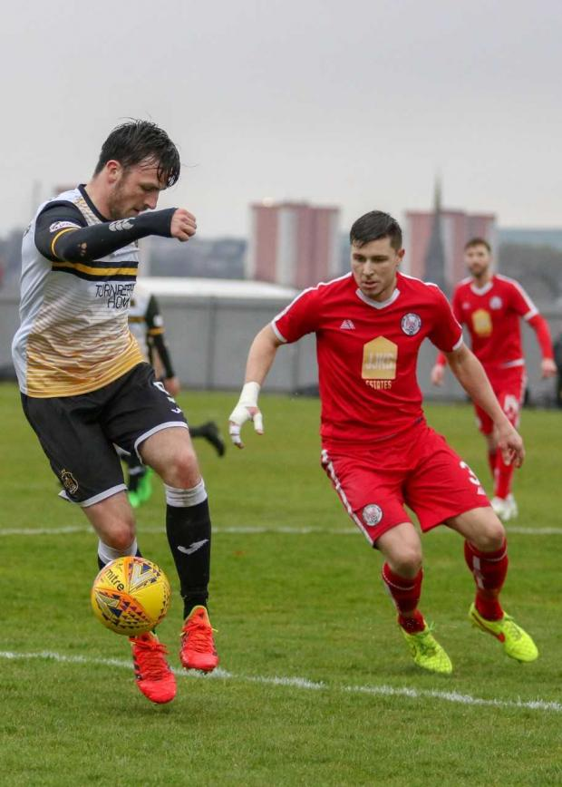 Dumbarton and Vale of Leven Reporter: Calum Gallagher grabs his 11th of the season to secure crucial three points for Sons (Photo: Andy Scott)