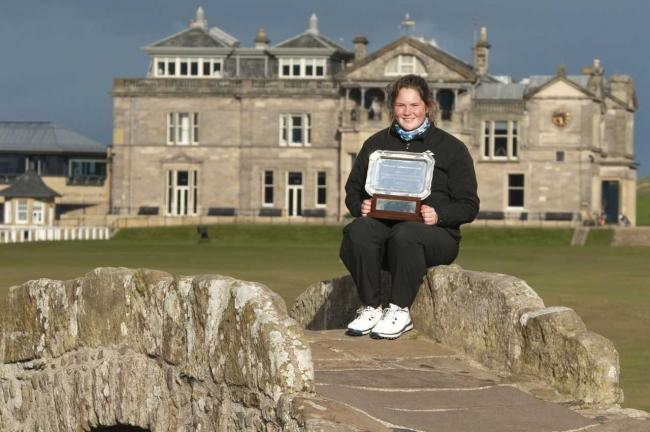 Lorna with her well-deserved trophy after emerging victorious on St Andrew's Old Course