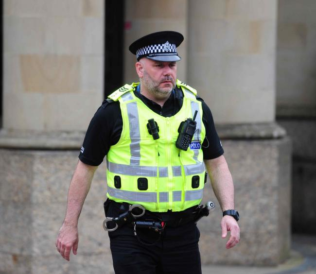 Police Sergeant Brian Simpson  at the High Court in Glasgow where he told how he was attacked by a maniac with a machete, Craig Brown is on trial for attempted murder