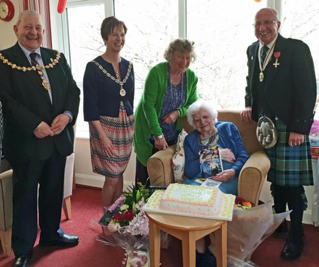 Bessie with Provost William Hendrie, Deputy Provost Karen Conaghan, her niece Mary Cook and Deputy Lieutenant Owen Sayers