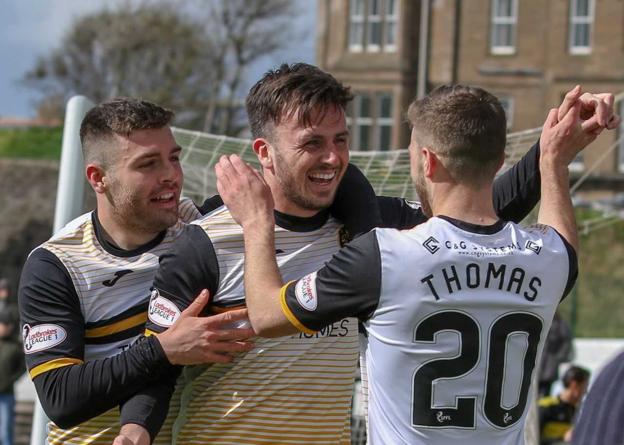 April Player of the Month Calum Gallagher celebrates his 14th of the season as Sons take the lead 