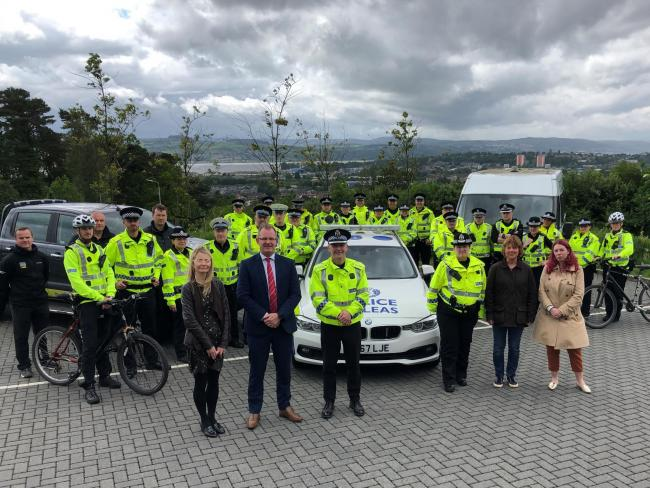 Chief Inspector Scott Carlin along with officers from across West Dunbartonshire who will be part of the Summer Task Force are pictured along with Scott McLelland - Area Co-ordinator (Dumbarton), Housing Operations, No Home for Domestic Abuse and Anti-Soc