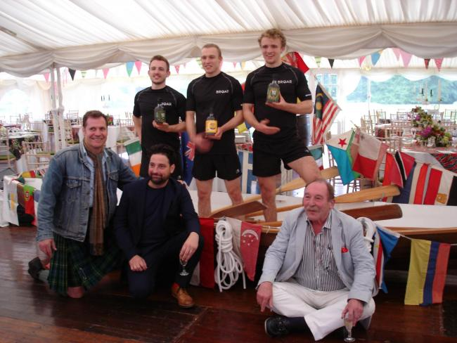 L-R Bottom - Jamie Spencer, Director Feedback Madagascar, Iain Croucher, North Star Spirits, Charlie Maclean; Top - Ewan, Jamie and Lachlan Maclean