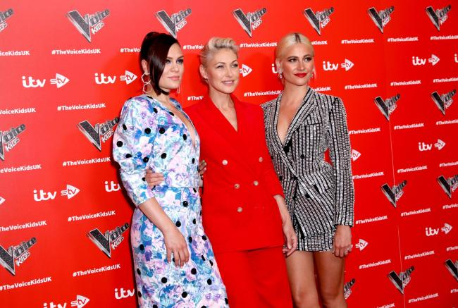 Jessie J, Emma Willis and Pixie Lott from the Voice Kids   Photo: Isabel Infantes/PA Wire